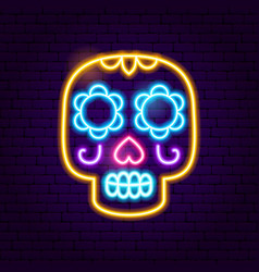 day dead skull neon sign vector image