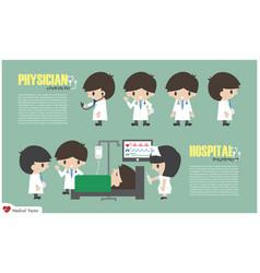doctor cartoon character and inpatient department vector image