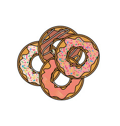 donuts with chocolate glaze on top view in colored vector image