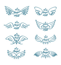 Elegant angel flying wings hand drawn wing tattoo vector