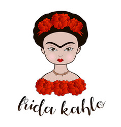 Frida kahlo cartoon portrait vector