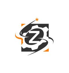 gear solution logo letter z vector image