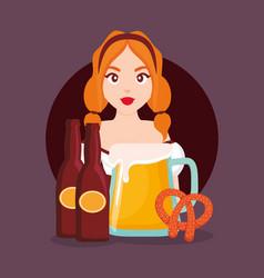 german woman with bottles beer vector image