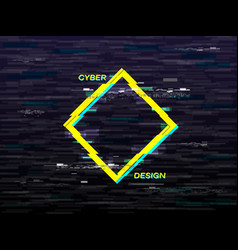 Glitch concept yellow and blue rhombus retro vhs vector