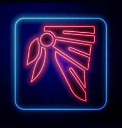 Glowing neon bandana or biker scarf icon isolated vector