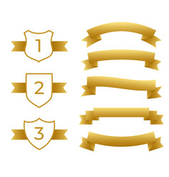 gold ribbons and labels set vector image
