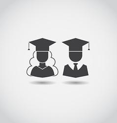 Graduation Man and Woman Icons vector