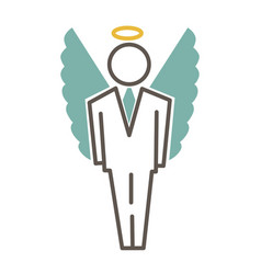 Graphic man in costume and with angel wings vector