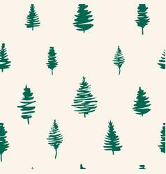 Green fir tree seamless pattern for winter vector
