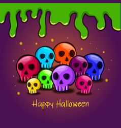 greeting card with color cartoon skull vector image