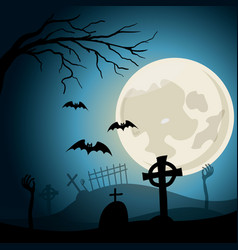 Halloween background graveyard with crosses and vector