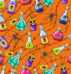 Halloween cute hand drawn pattern with different vector image