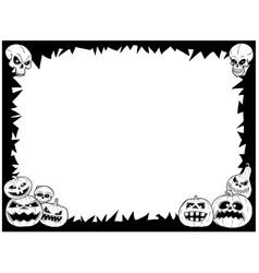 Halloween frame with skulls and pumpkins vector