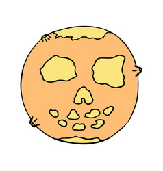 Happy halloween color icon with deadly moon vector