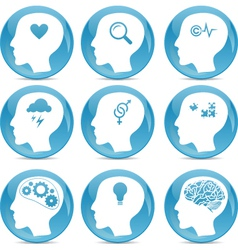 Head silhouette icons vector image