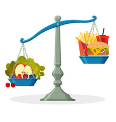 Healthy food and junk food on balanced scale vector