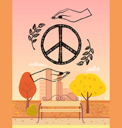 Hippie logo protected by hands vector