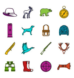 hunting icons doodle set vector image