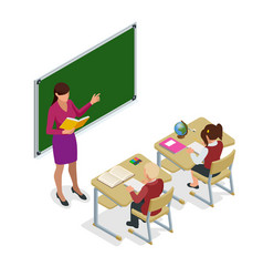 isometric school children in classroom at lesson vector image