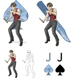 Jack of spades brawling man Mafia card set vector image