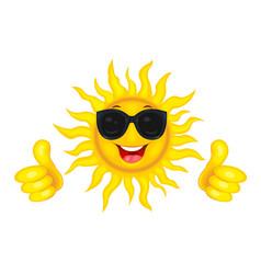 joyful sun in glasses vector image