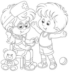 kids playing doctor and patient vector image