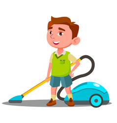 little boy with vacuum cleaner helps to do house vector image