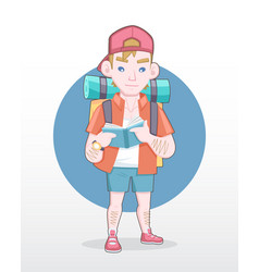 male tourist with backpack reading guidebook vector image