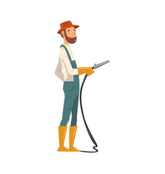 Man gardener watering with hose cheerful male vector