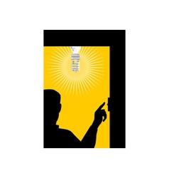 Man Switching On Lighting Bulb vector