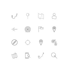 maps and navigation linear thin icons set vector image