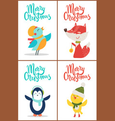 merry christmas banners set on vector image