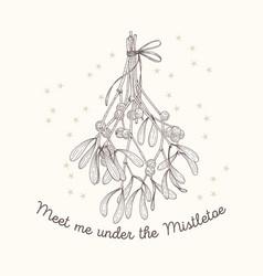 Mistletoe sketch greeting card vector