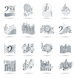 Music notes black icons set vector image