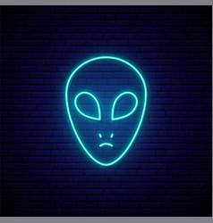 Neon ufo sign glowing neon ufo icon bright vector
