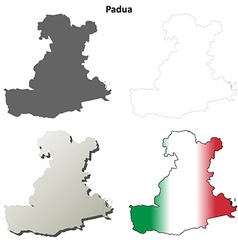Padua blank detailed outline map set vector