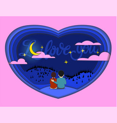 Paper cut card of lovers vector