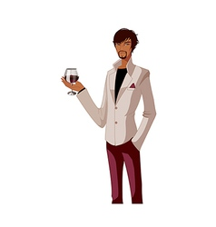 Portrait man holding wineglass vector