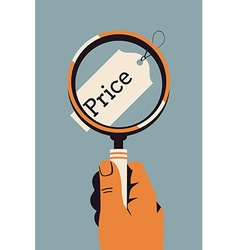 Price Tag Under a Magnifying Class vector image