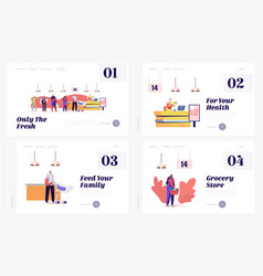 Queue in grocery landing page template set vector