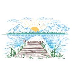 Rising sun on lake landscape vector