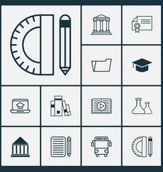 School icons set with school supplies essay vector
