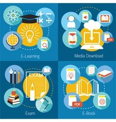 School online e-learning e-book exam concept vector
