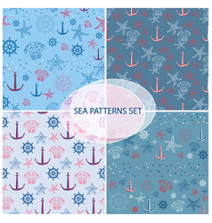 Seamless pattern set with sea themed accessory vector