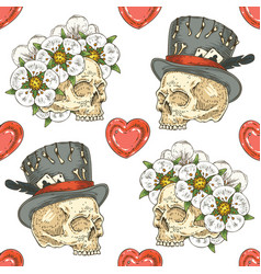 Seamless pattern with skulsl and hearts vector