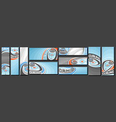Set curling banners vector
