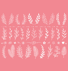 set hand draw tree branches and flowers vector image