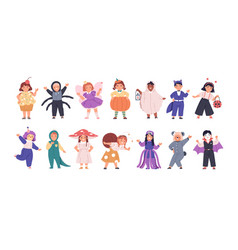 set kids disguised in funny and scary costumes vector image