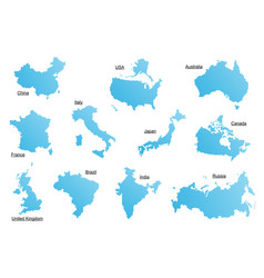 Set of blue countries vector