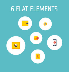 set of finance icons flat style symbols with pie vector image